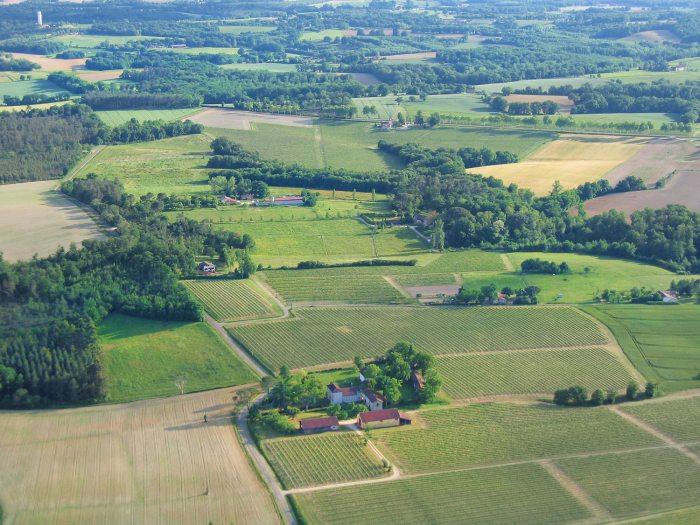 Vue aérienne du Toupié et du Caou, Parleboscq