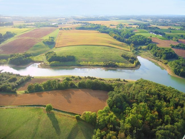 Vue aérienne du lac de Parleboscq