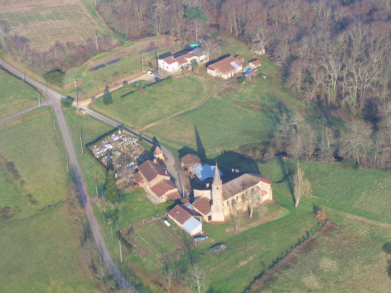 Vue aerienne de Soubère, commune de Mauleon-d'Armagnac
