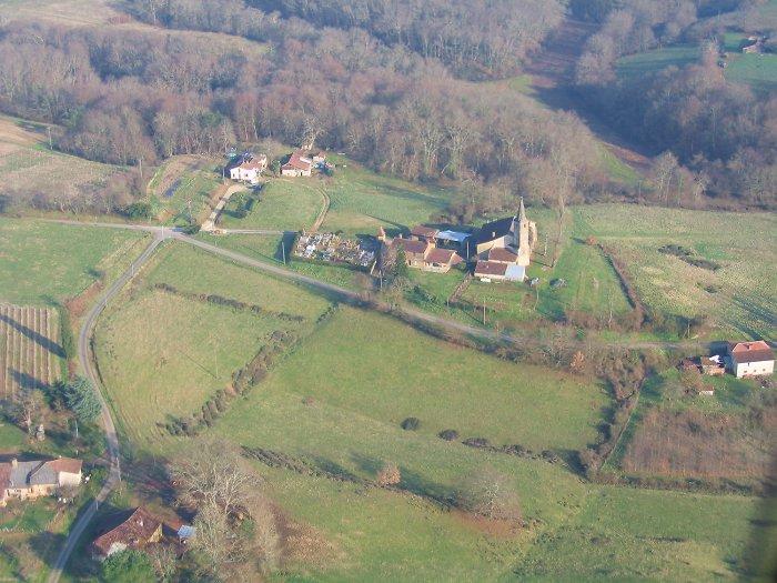 Vue aérienne de Soubère (commune de Mauleon-d'Armagnac)